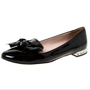 Miu Miu Patent Leather studded Bow Ballet Flats